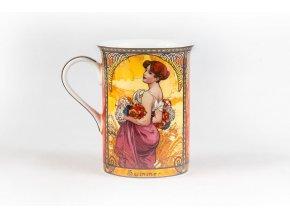 Porcelánový hrnek s motivy čtyř ročních období od Alfonse Muchy